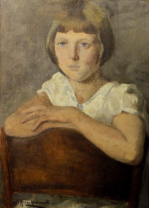 "Renée Navarrete Risco (1906-1999) pintora peruana. ""Retrato de July Phillips"". Óleo sobre lienzo."