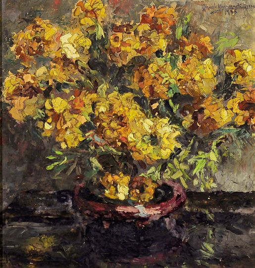 "Renée Navarrete Risco (1906-1999) pintora peruana. ""Flores Maravillas"". Óleo sobre tela."