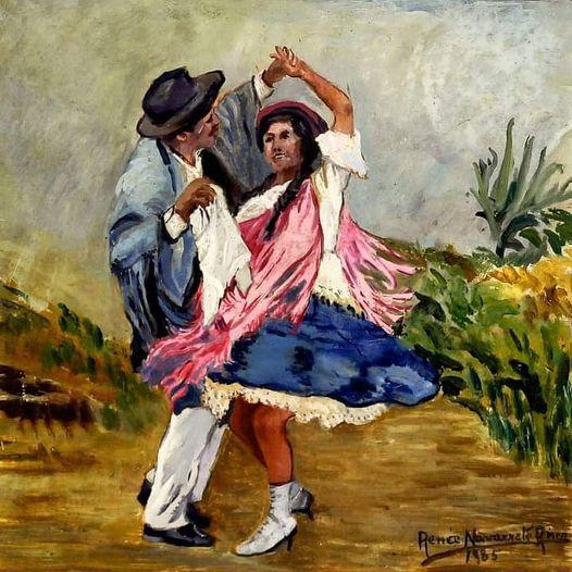 "Renée Navarrete Risco (1906-1999) pintora peruana. ""Marinera Puneña""."