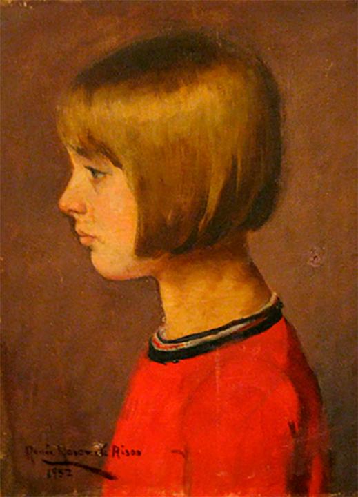 "Renée Navarrete Risco (1906-1999) pintora peruana. ""Retrato de July Phillips en rojo"". ""Óleo sobre tela""."