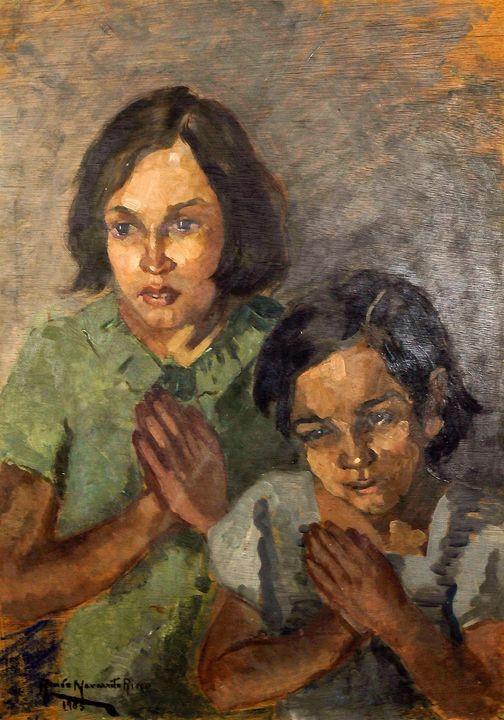 "Renée Navarrete Risco (1906-1999) pintora peruana. ""Plegaria"". Óleo sobre tela."