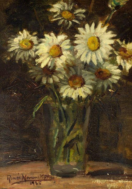 "Renée Navarrete Risco (1906-1999) pintora peruana.  ""Flores Margaritas""."