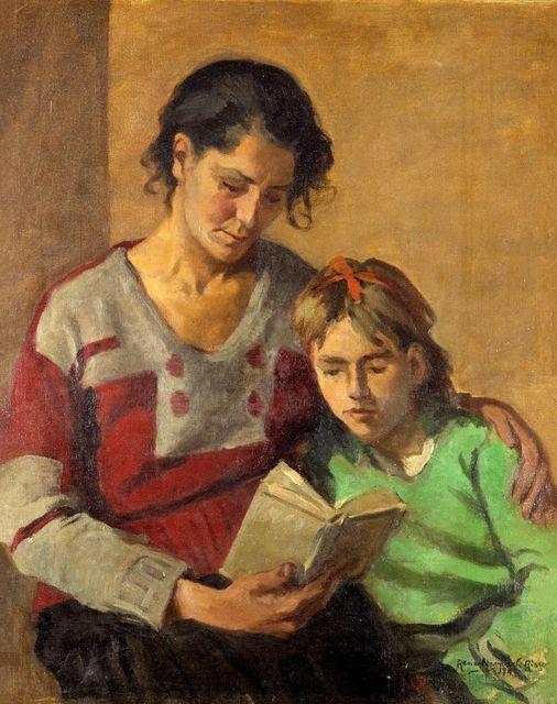 "Renée Navarrete Risco (1906-1999) pintora peruana. ""Abuelita y nieta""."