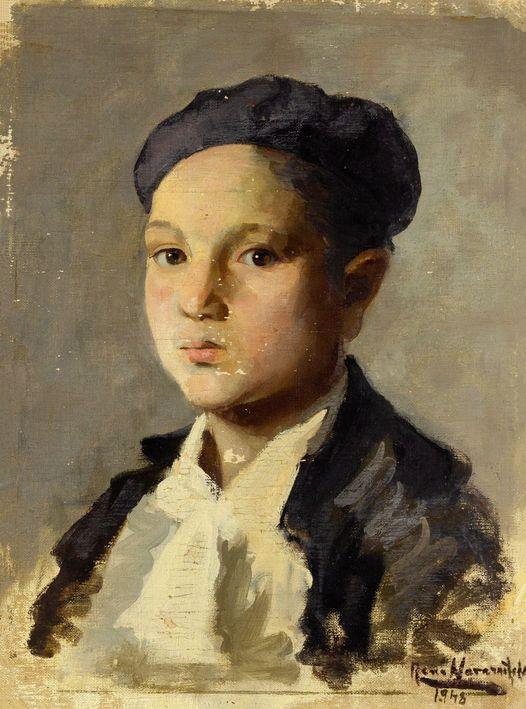 "Renée Navarrete Risco (1906-1999) pintora peruana. ""El niño de la boina""."