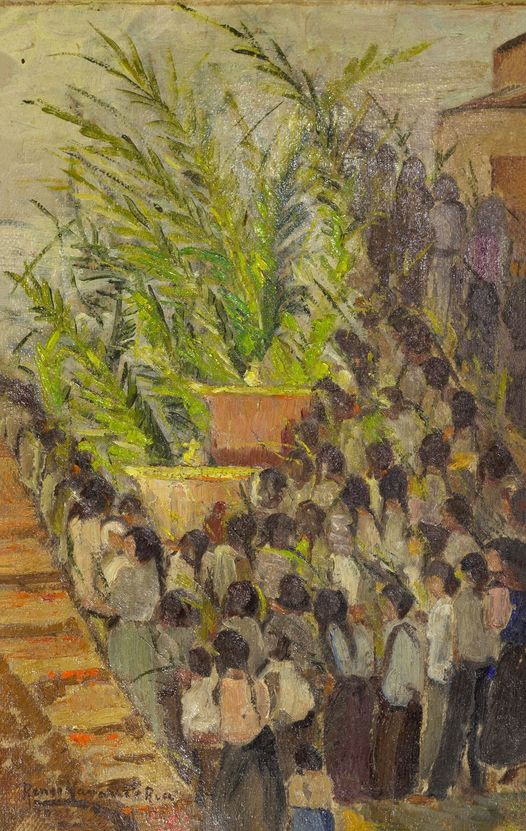 "Renée Navarrete Risco (1906-1999) pintora peruana. ""Domingo de Ramos en Chiclayo""."