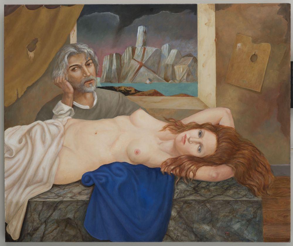 """""""La pose"""" ( 2016 ), obra donde el artista y su musa figuran retratados."""
