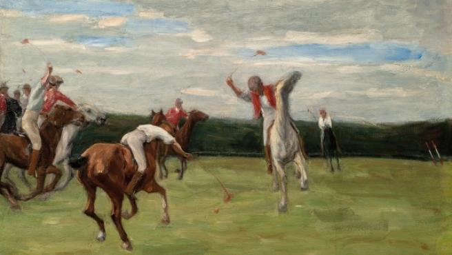 Partido de polo, óleo de Lierbemann pintado en 1903Private collection